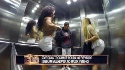 Garotas atrasadas trocam de roupa no elevador e causam uma tremenda confusão