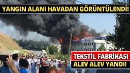 Hadımköy'de Fabrika Yangınında Son Durum Havadan Görüntülendİ